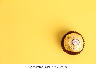 Zaragoza Spain. September 18, 2018,Ferrero Rocher chocolate and hazelnut confectionery balls on a table. Roughly 3.6 billion Ferrero Rochers are sold each year in over 40 countries worldwide.