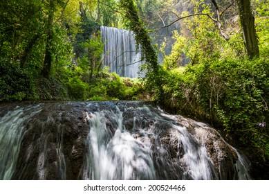 Zaragoza, spain, waterfall from stone monastery.