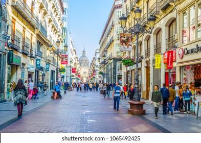 ZARAGOZA, SPAIN,NOVEMBER 1,2014: People are strolling through calle de alfonso I in Zaragoza, Spain