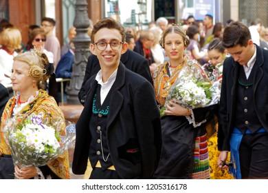 Zaragoza,Aragon/Spain-10/12/2018: smiling boy in Fiestas Del Pilar