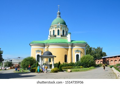 Zaraysk, Russia, August, 13, 2015. Cathedral of the beheading of John the Baptist and the walls and towers of the ancient Zaraysk Kremlin in summer day