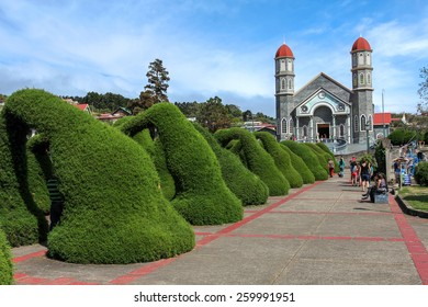 ZARCERO, COSTA RICA - JANUARY 18: Francisco Alvardo Park with its famous topiary and the Church of San Rafael in Zarcero, Costa Rica on January 18, 2015.