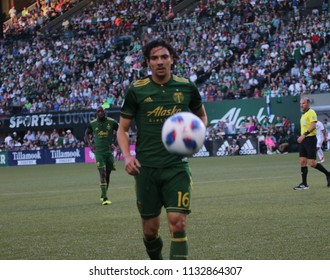Zarek Valentin defender for the Portland Timbers at Providence Park in Portland Oregon USA July 6,2018.