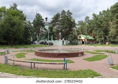 Zarja, Moscow region/Russia - Jul 2020: fountain on central square of military settlement Zaria