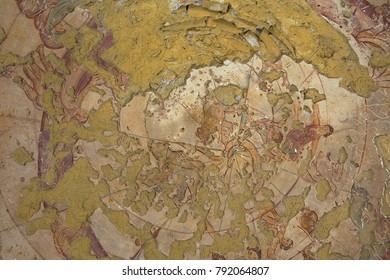 ZARQA, JORDAN - AUGUST 23, 2012: Fragment of the Roman mural ceiling decoration at an ancient Umayyad Desert Castle of Qasr Amra in Zarqa, Jordan