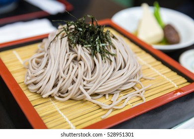 Zaru soba ramen is cold soba noodle with soup and tofu, japanese style food