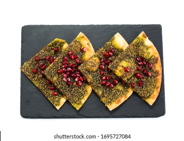 Zataar Manakish lebanese manakeesh arabic food Zataar pomegranate Manakish lebanese manakeesh arabic food.