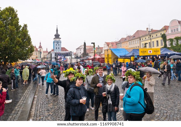 Zatec, Czech Republic - 1 August, 2018:  People at the 61st Celebration of Hop Festival. All day was rainy weather.