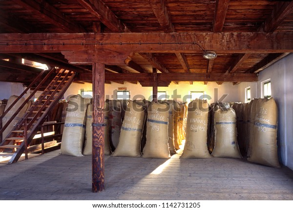 ZATEC TOWN,  CZECH REPUBLIC - August 25, 2017: Sacks of hops in historical storehouse in Zatec town.