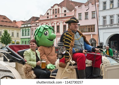 ZATEC TOWN,  CZECH REPUBLIC - May 25, 2013:  Mayor of Town in a carriage. Chmelfest in Zatec Town .