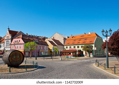ZATEC TOWN,  CZECH REPUBLIC -  May 8, 2016: Empty Kruhove square in the morning.