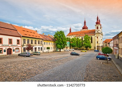 ZATEC TOWN,  CZECH REPUBLIC - May 21, 2016: Empty Zizkovo square in Zatec before sunset.
