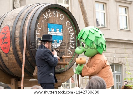 ZATEC TOWN,  CZECH REPUBLIC - May 5, 2016: Opening ceremony of hop  season.