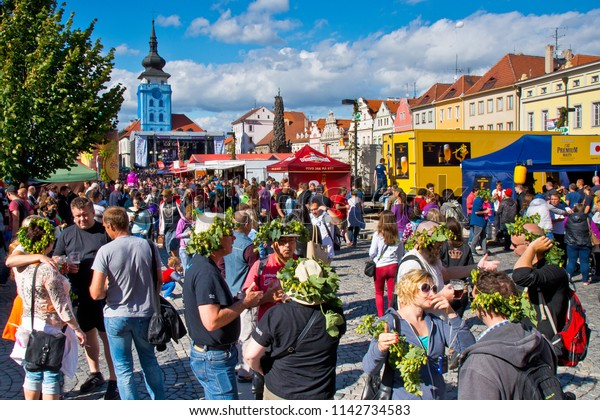ZATEC TOWN,  CZECH REPUBLIC - September 5, 2015: People with hops wreath on the head. Zatec Hops and Beer Festival.
