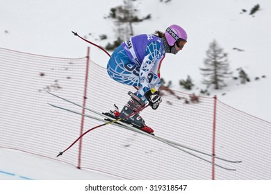 ZAUCHENSEE AUSTRIA. 06 JANUARY 2011.  Chelsea Marshall (USA) takes to the air in the first training run for the downhill race part of FIS Alpine World Cup, in Zauchensee Austria.