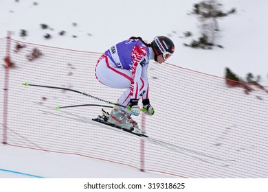 ZAUCHENSEE AUSTRIA. 06 JANUARY 2011.  Elisabeth Goergl (AUT) takes to the air in the first training run for the downhill race part of FIS Alpine World Cup, in Zauchensee Austria.