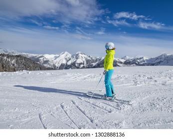 Zauchensee, Austria, January 31, 2019: skier in Ski Amade Zauchensee in Salzburg land, Austrian Alps.