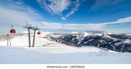 Zauchensee SKI RESORT, AUSTRIA - JANUARY 31, 2019: Ski Amade Zauchensee ski area in Salzburg land, Austrian Alps.