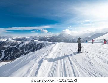 Zauchensee SKI RESORT, AUSTRIA - JANUARY 31, 2019: skiers in Ski Amade Zauchensee area in Salzburg land, Austrian Alps.
