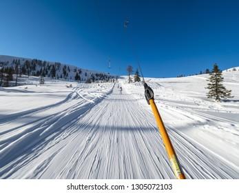 Zauchensee SKI RESORT, AUSTRIA - JANUARY 31, 2019: View from a ski lift at Ski amade Zauchensee resort, Austria.
