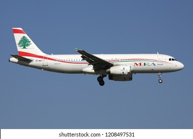 ZAVENTEM, BELGIUM - July 19, 2013: Lebanese MEA Middle East Airlines Airbus A320-200 with registration OD-MRT on short final for runway 01 of Brussels Airport.