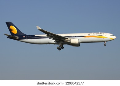 ZAVENTEM, BELGIUM - July 19, 2013: Indian Jet Airways Airbus A330-300 with registration VT-JWU on short final for runway 01 of Brussels Airport.