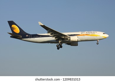 ZAVENTEM, BELGIUM - July 19, 2013: Indian Jet Airways Airbus A330-200 with registration VT-JWP on short final for runway 01 of Brussels Airport.