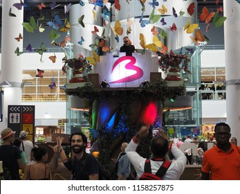Zaventem, Belgium - July 23, 2018: A DJ plays music after the Tomorrowland Festival at Brussels Airport.