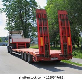 Zavodoukovsk, Tyumen region, Russia, August 15, 2012: car trailer-trawl. For transportation of goods and equipment.