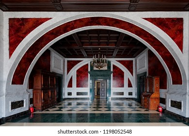 ZBARAZH, UKRAINE - MARCH 28 2018: Interior of one of the rooms of Zbarazh  Castle, fortified defense stronghold in Zbarazh town, in Ukraine at March 28 2018