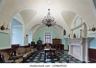 ZBARAZH, UKRAINE - MARCH 28 2018: Interior of one of the rooms of the  Zbarazh Castle, fortified defense stronghold in Zbarazh town, in Ukraine at March 28 2018