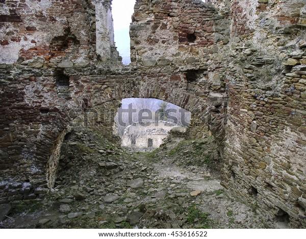ZBOROV, SLOVAKIA - APRIL 01, 2007: Ruins of Zborov Castle situated near the village of Zborov, near Bardejov, Slovakia