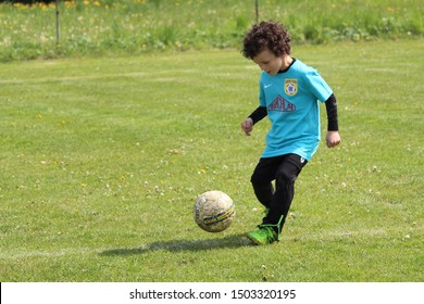 ZBYNON, SLOVAKIA - MAY 8, 2019: Summer soccer tournament for young kids (category U11) organized by football club TJ Zbynov. Matches full of emotions and joy of the game.