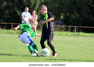 ZBYNON, SLOVAKIA - SEPTEMBER 15, 2018: Summer soccer tournament for young kids (category U11) organized by football club TJ Zbynov. Matches full of emotions and joy of the game.