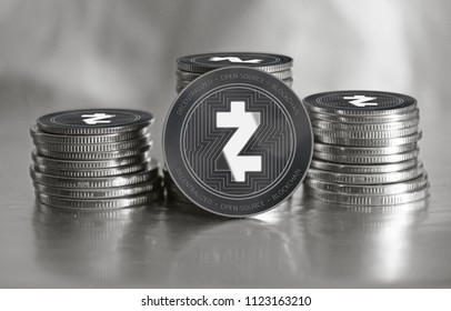 Zcash (ZEC) crypto currency. Stack of black and silver coins. Cyber money.