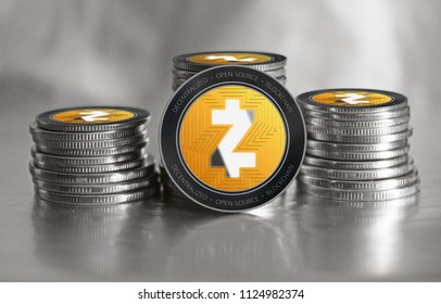 Zcash (ZEC) cryptocurrency. Stack of black and silver coins. Cyber money.