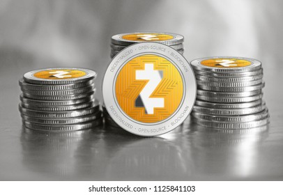 Zcash (ZEC) cryptocurrency. Stack of silver with orange coins. Cyber money.