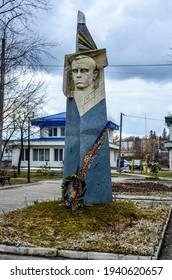 Zdolbuniv. Rivne region. Ukraine. March 2021.Monument to Stepan Bandera. Stepan Bandera is a Ukrainian politician, a fighter for Ukraine's independence in the twentieth century.