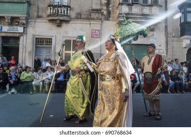 Zebbug, Malta - April 14,2017. People dressed in Biblical costumes take part in a parade during the Good Friday Procession at the town of Zebbug in the southern Malta.