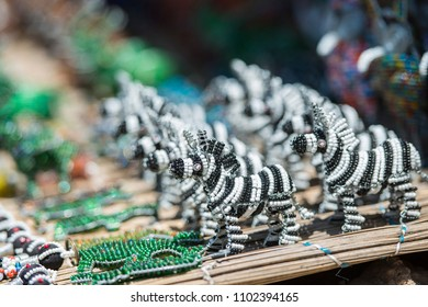 Zebra African Bead Art shallow depth of field