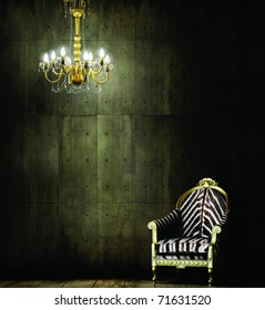Zebra Chair and Royal Chandelier