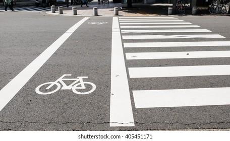 Zebra cross walk sign on the road in Japan
