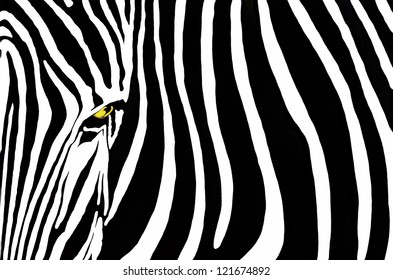 Zebra Stripes - Bold black and white stripes fill the frame, offset by the straight-on view of a zebra looking directly ahead, its yellow eye a distinctive focal point.