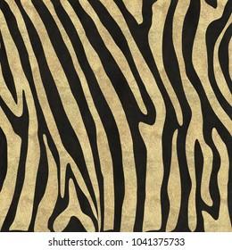 Zebra stripes in gold glitter on a black background