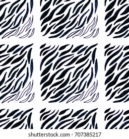 Zebra tiled print. Animal seamless pattern. Zebra repeating pattern. Seamless texture of wild skin. Hand drawn illustration. African hand drawn design. Color leather.