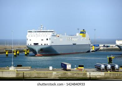 Zeebrugge, Belgium - 29th April 2019:CLDN RO-RO SA  Celine Ro-Ro cargo Transporter ships taking on the cargo