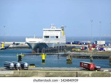 Zeebrugge, Belgium - 29th April 2019:CLDN RO-RO Amandine Ro-Ro cargo Transporter ships taking on the cargo
