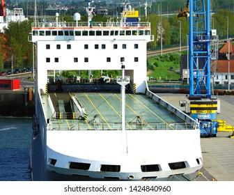 Zeebrugge, Belgium - 29th April 2019:CLDN RO-RO SA  Adeline Ro-Ro cargo Transporter ships taking on the cargo