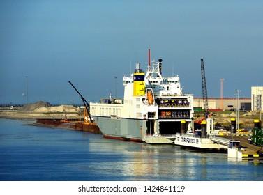 Zeebrugge, Belgium - 29th April 2019:CLDN RO-RO SA  Amandine Ro-Ro cargo Transporter ships taking on the cargo