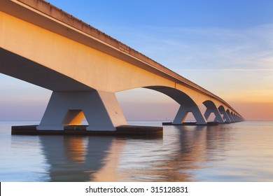 The Zeelandbrug (Zeeland Bridge) in the Dutch province of Zeeland, photographed at sunrise.